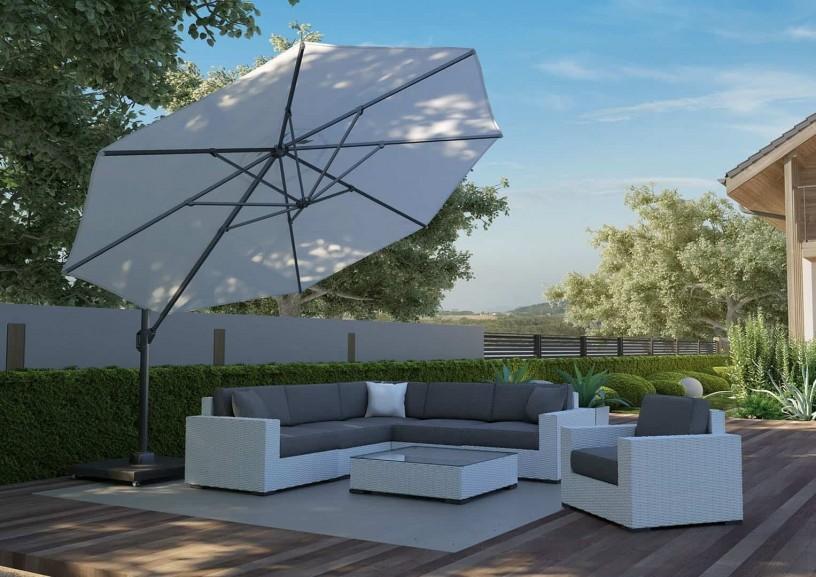 Zestawy ogrodowe z parasolem – wypoczynek blisko domu