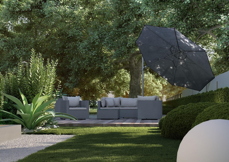 czarny parasol ogrodowy Challenger T2