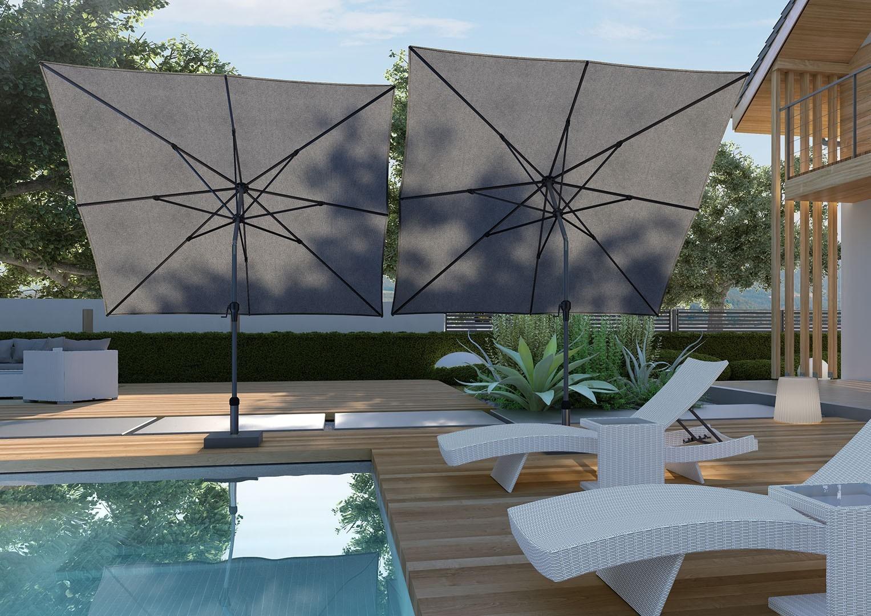 czarny parasol ogrodowy Riva