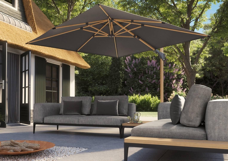 duży parasol ogrodowy z podstawą Challenger T2 Oak